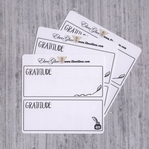 GRATITUDE set of 6 Thin Hand Drawn Large Box Note Page Planner Stickers