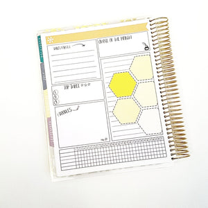 QUOTE set of 6 Thin Hand Drawn Large Box Note Page Planner Stickers
