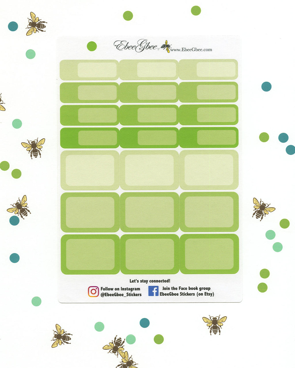LIME COLORFUL BOXES Planner Stickers | BeeColorful