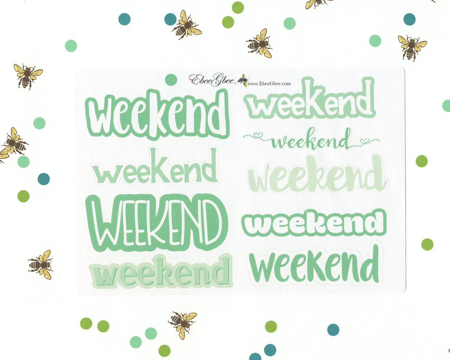MINT WEEKEND BANNERS Planner Stickers | BeeColorful