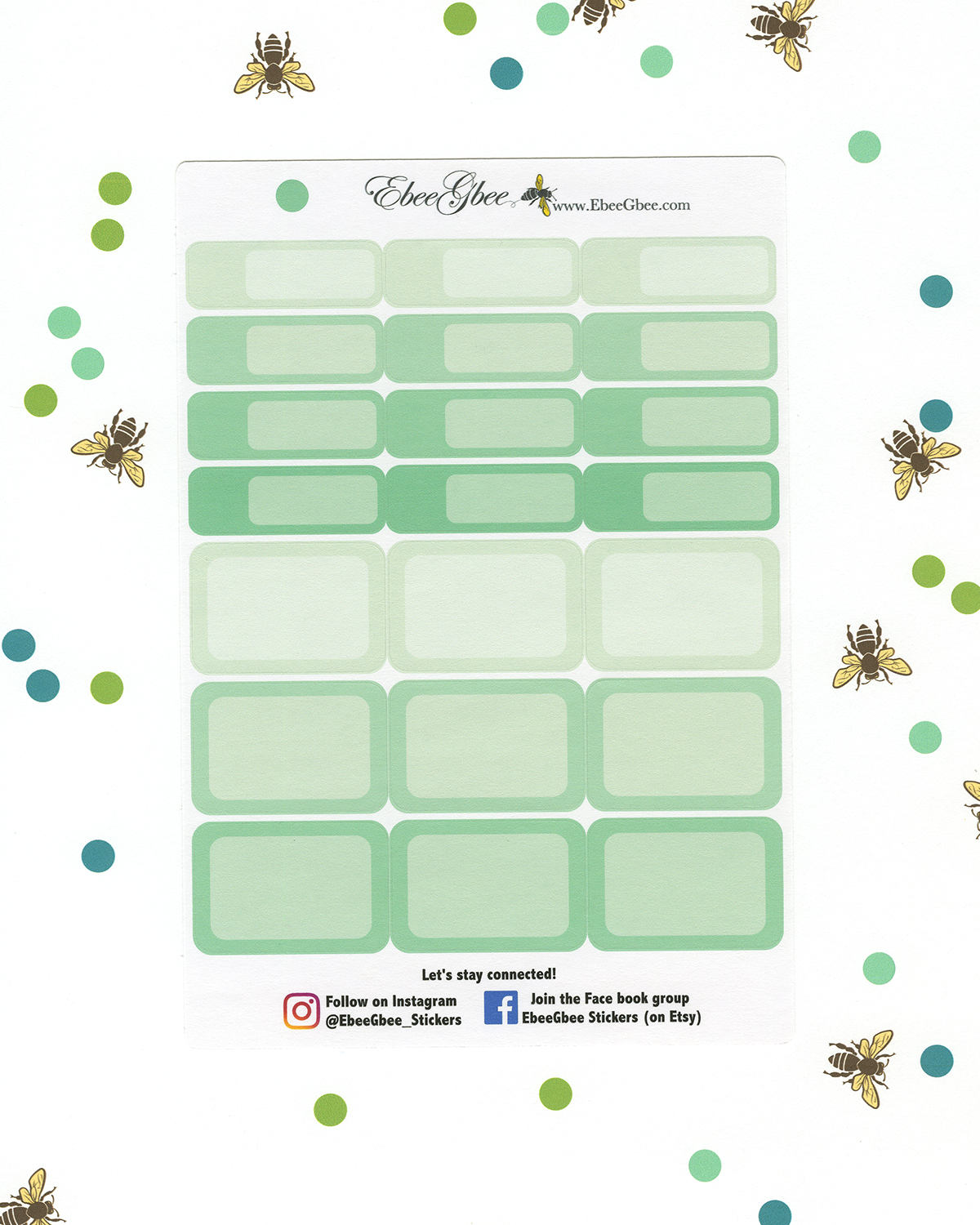 MINT COLORFUL BOXES Planner Stickers | BeeColorful
