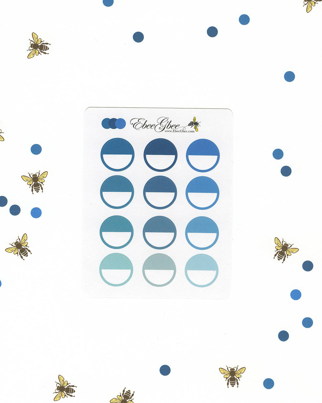 BLUES CIRCLE Planner Stickers |  BeeColorful Teal Midnight Sky