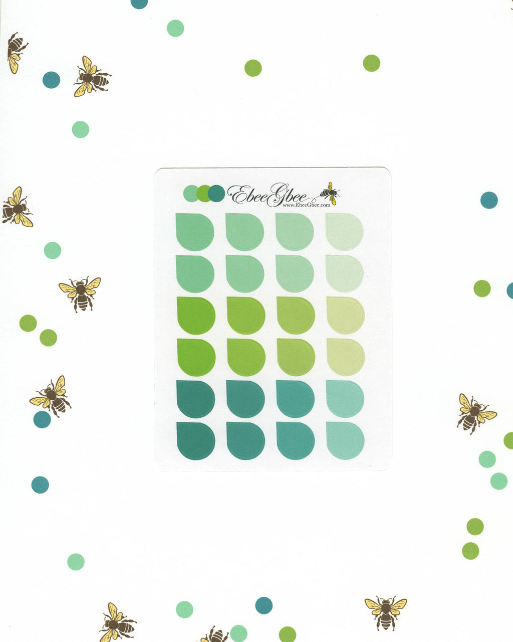 GREENS TEARDROP Planner Stickers |  BeeColorful Mint Lime Pine