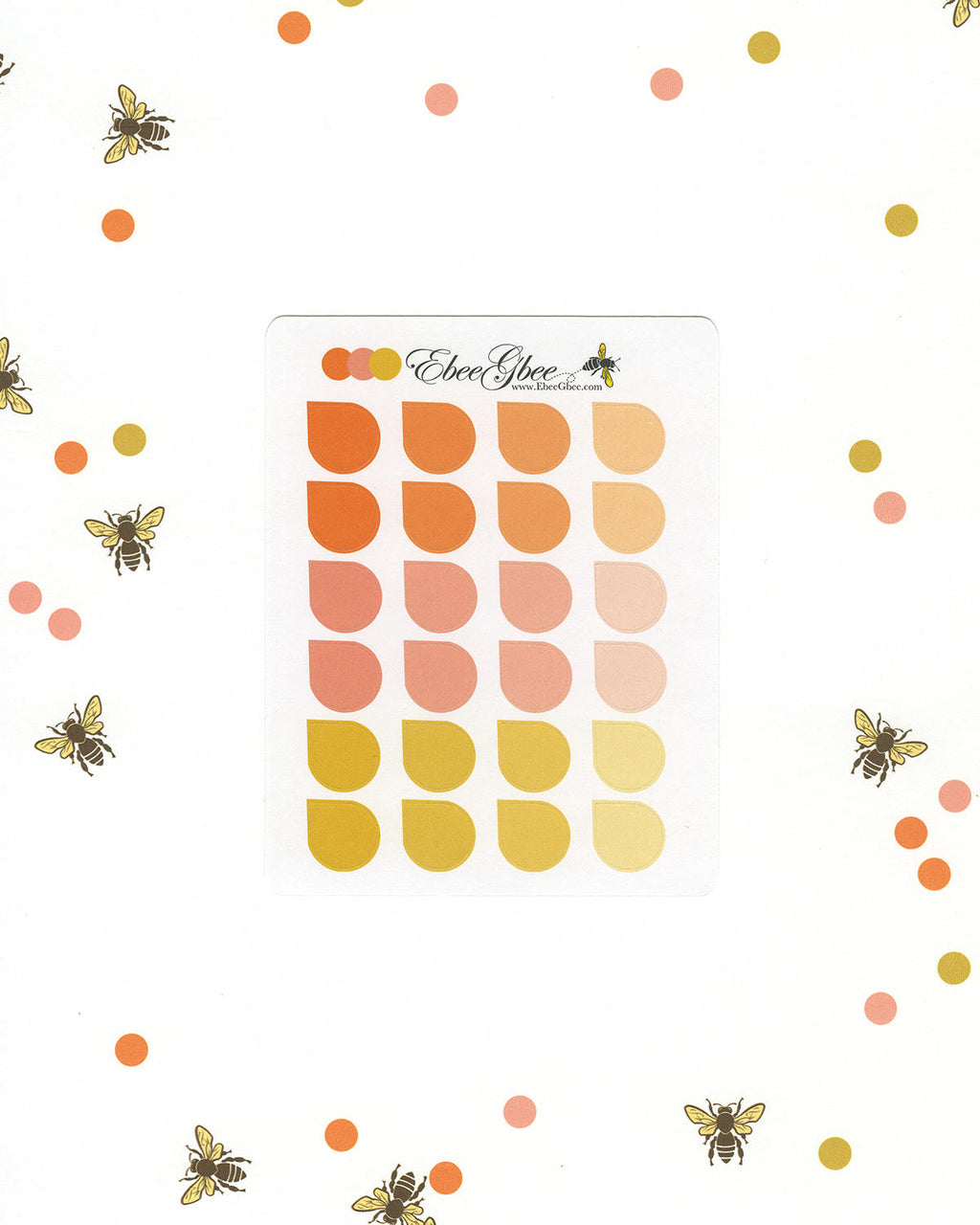 ORANGES TEARDROP Planner Stickers |  BeeColorful Sunset Peach Gold