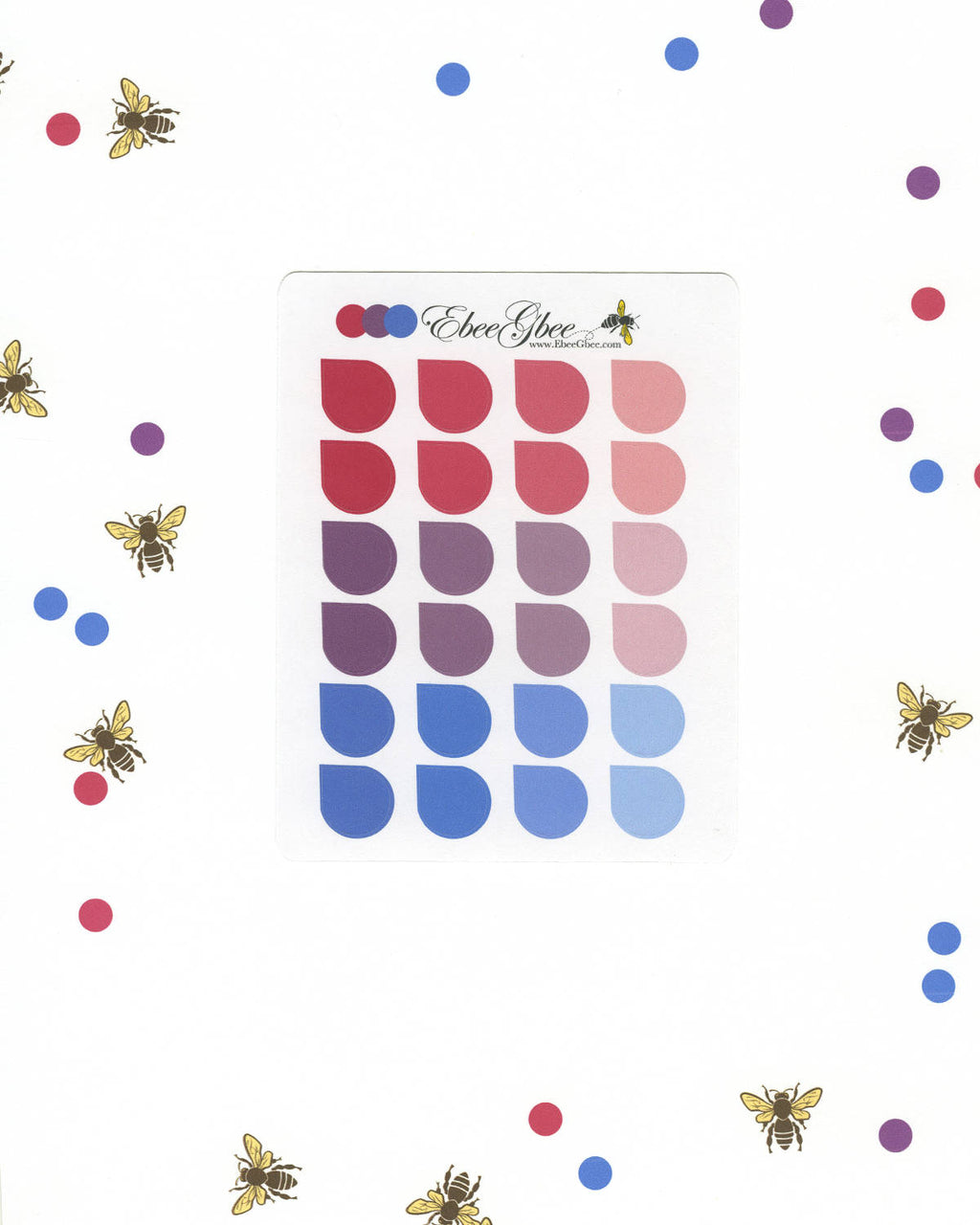 PURPLES & Pinks TEARDROP Planner Stickers |  BeeColorful Rose Plum Periwinkle
