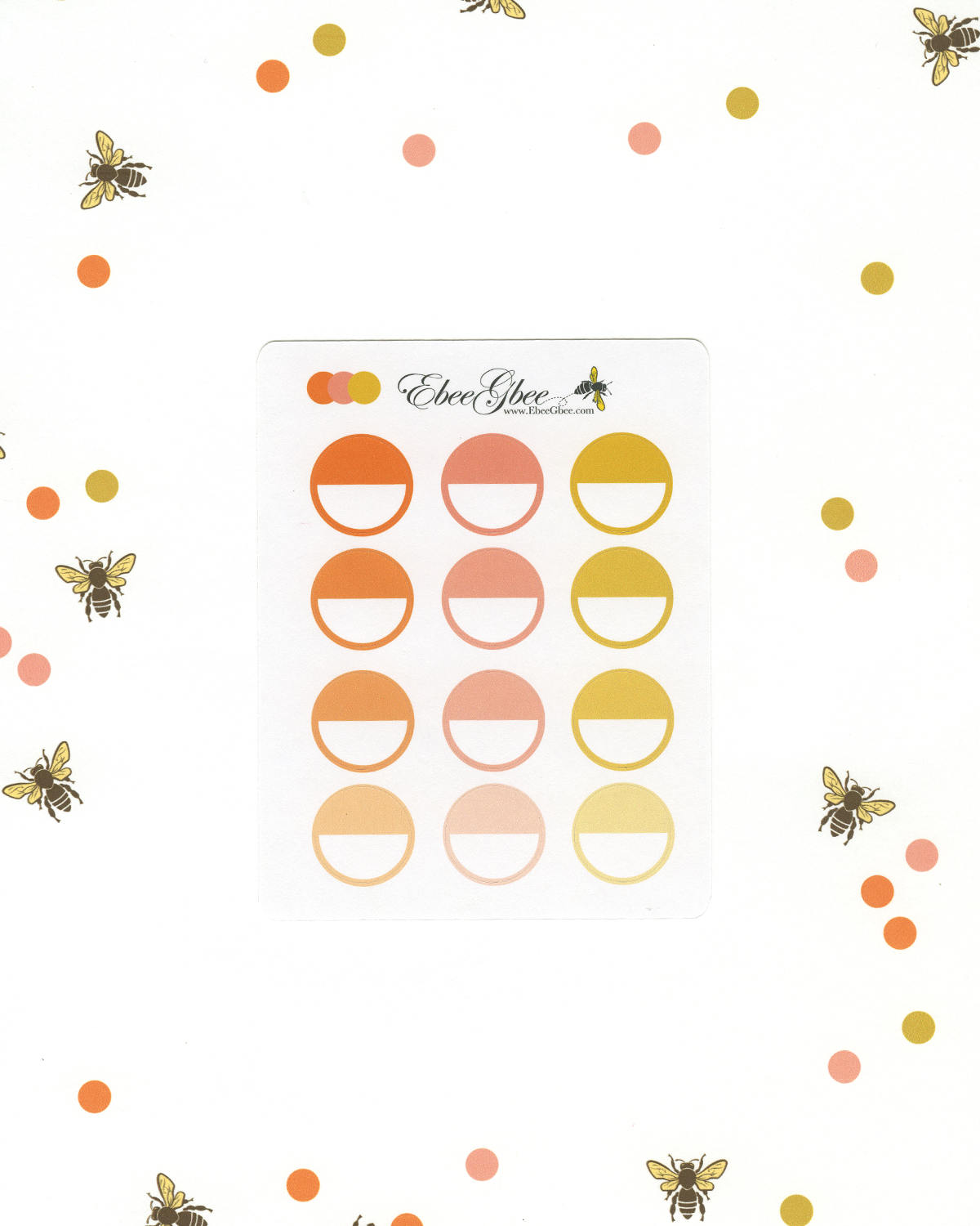 ORANGES CIRCLE Planner Stickers |  BeeColorful Sunset Peach Gold