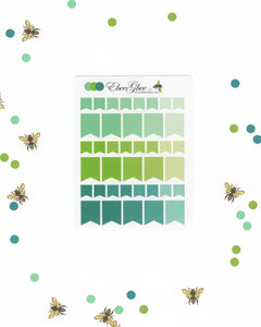 GREENS FLAGS Planner Stickers | BeeColorful Mint Lime Pine