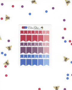 PURPLES & PINKS FLAGS Planner Stickers | BeeColorful Rose Plum Periwinkle