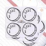 SAVINGS GOAL CIRCLE Hand Draw Note Page Planner Stickers