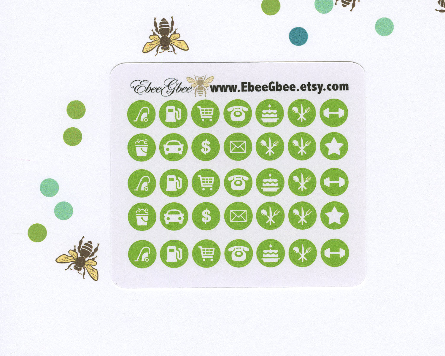 LIME ICON DOTS Planner Stickers | BeeColorful