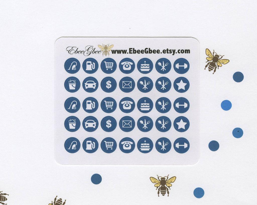 MIDNIGHT ICON DOTS Planner Stickers | BeeColorful