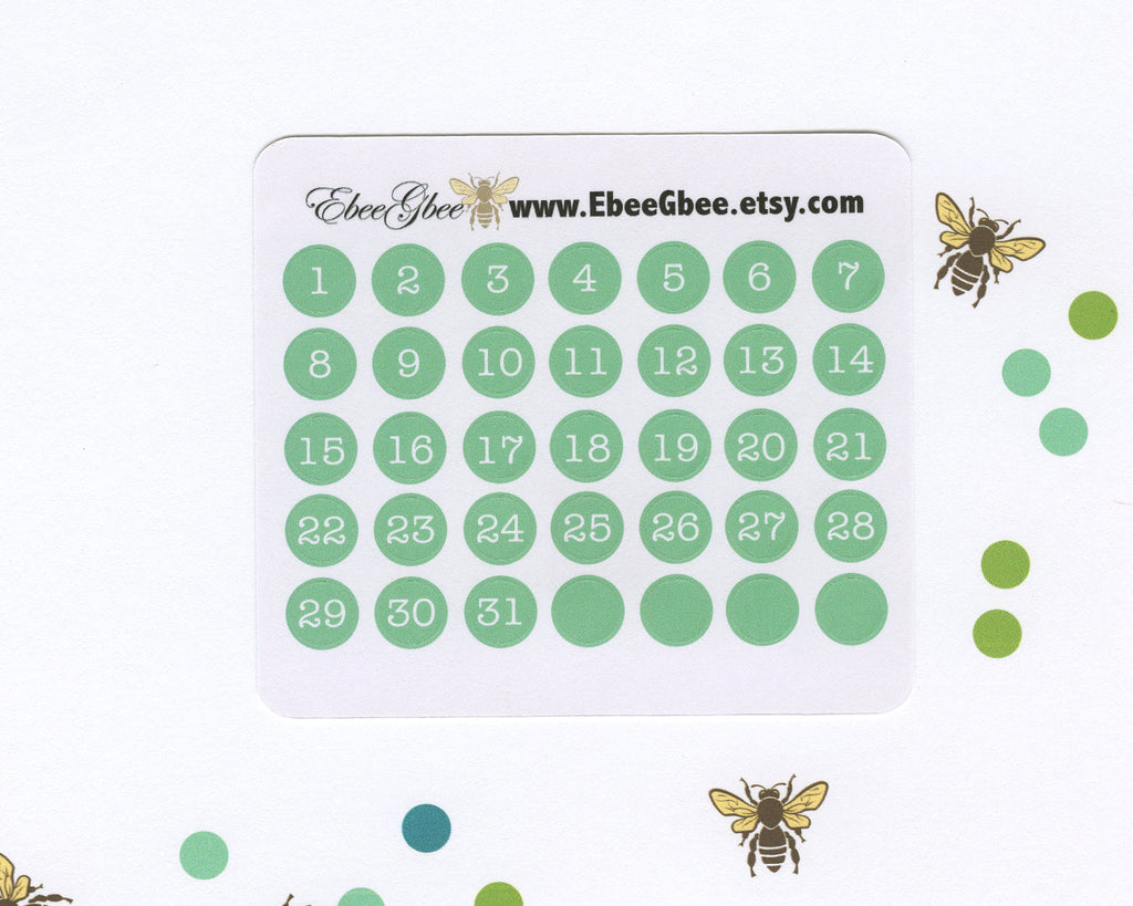 MINT DATE DOT Monthly Planner Stickers | BeeColorful