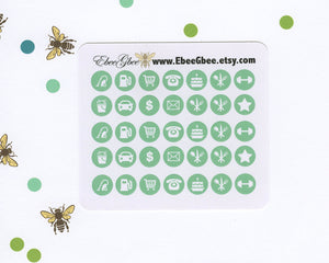MINT ICON DOTS Planner Stickers | BeeColorful