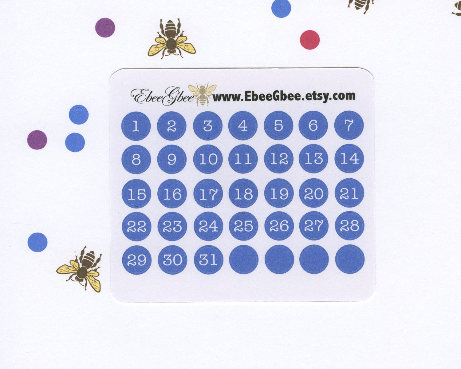 PERIWINKLE DATE DOT Monthly Planner Stickers | BeeColorful