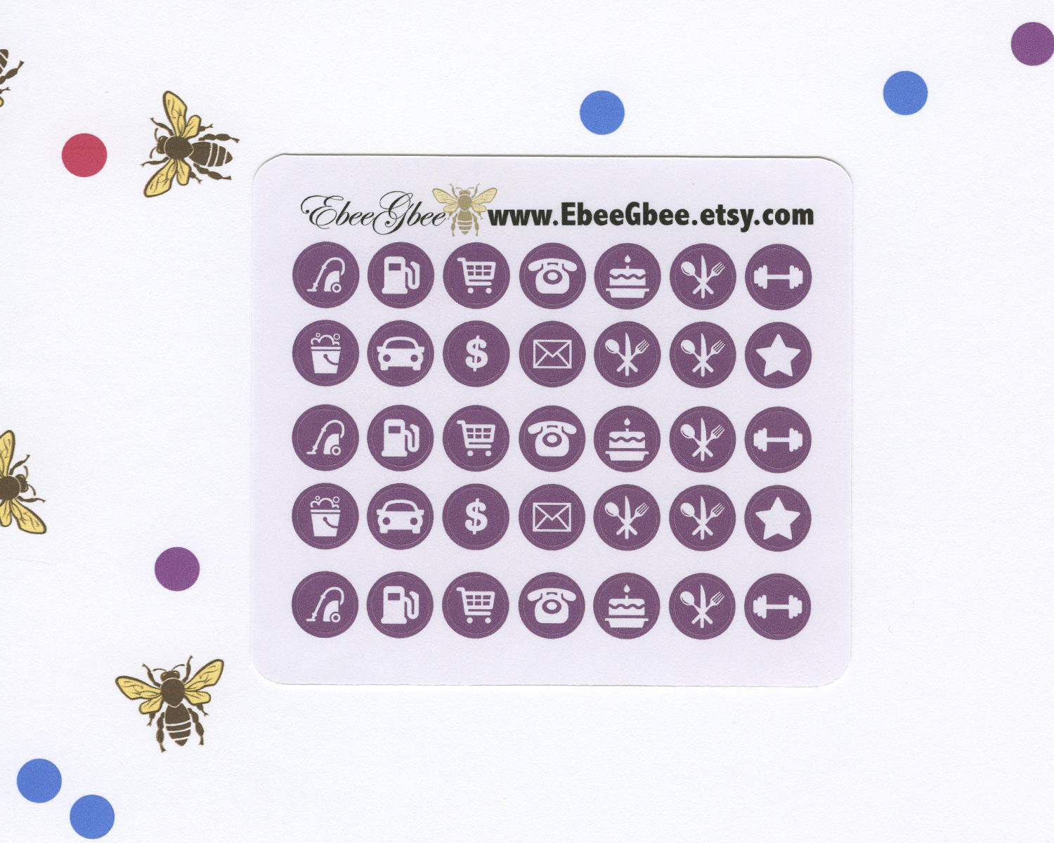 PLUM ICON DOTS Planner Stickers | BeeColorful