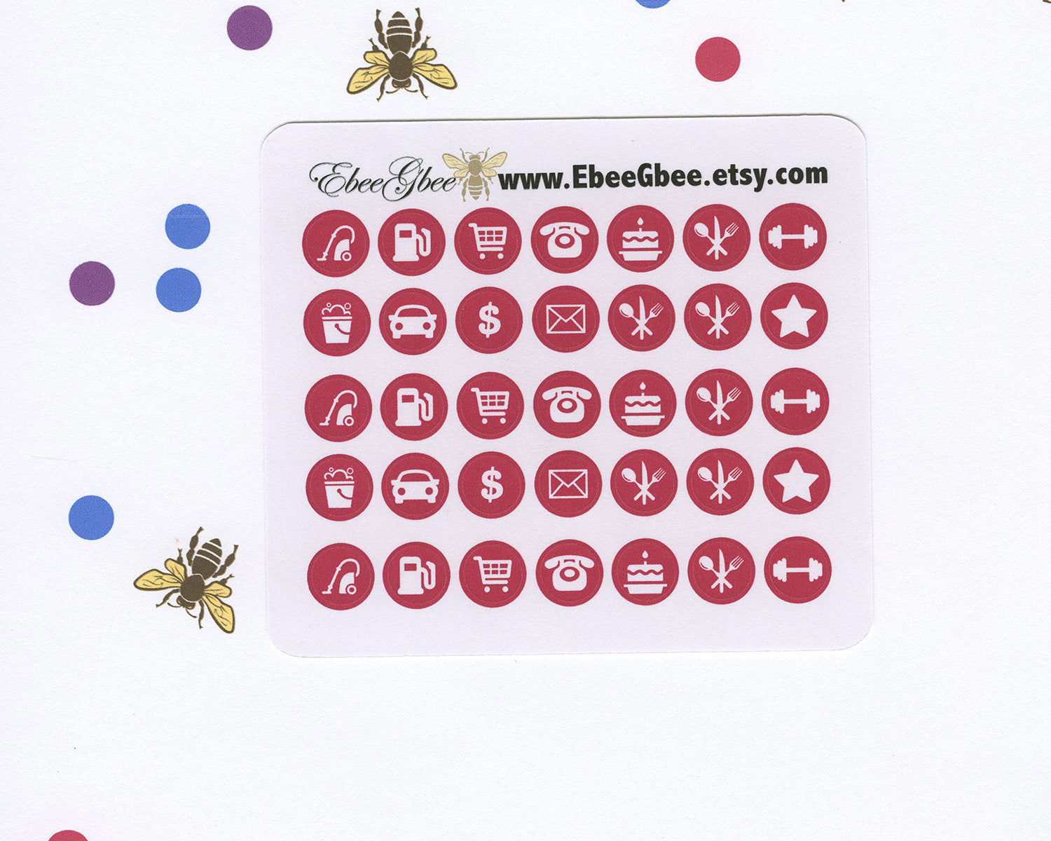 ROSE ICON DOTS Planner Stickers | BeeColorful