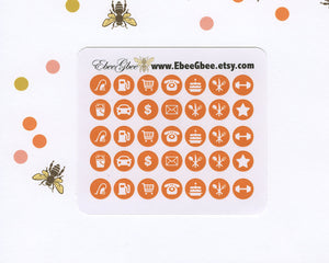 SUNSET ICON DOTS Planner Stickers | BeeColorful