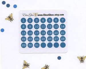 TEAL DATE DOT Monthly Planner Stickers | BeeColorful