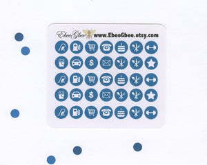 TEAL ICON DOTS Planner Stickers | BeeColorful