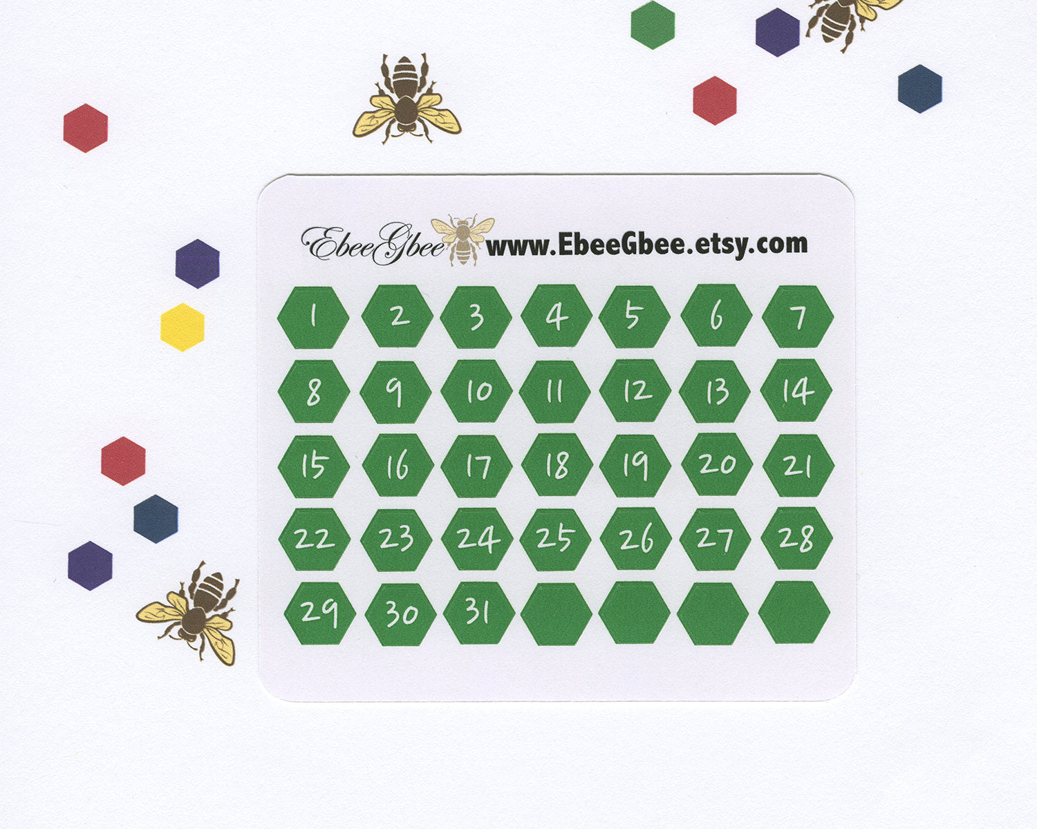 FROG DATE DOT  Hexagon Monthly Planner Stickers | BeeBright