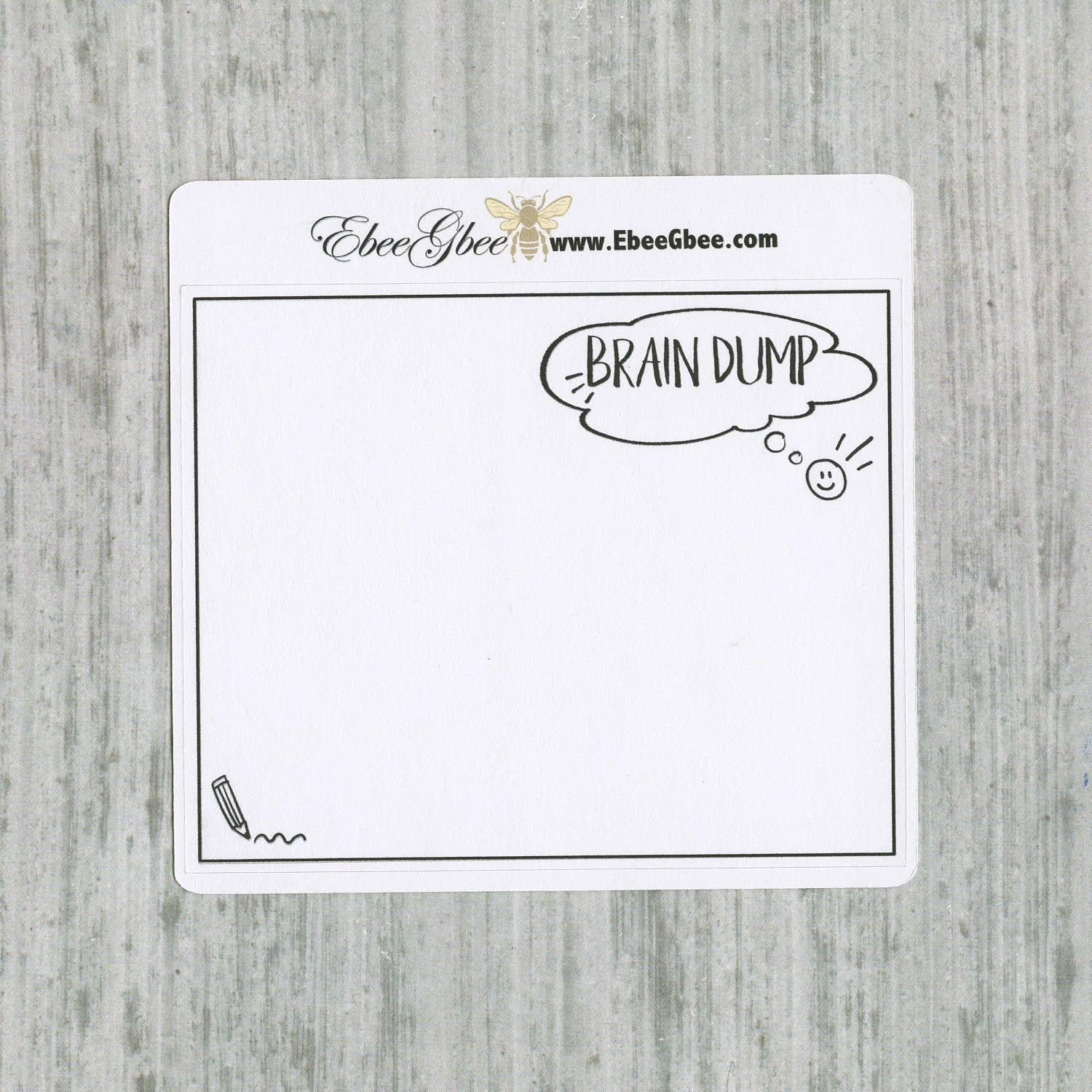 BRAIN DUMP set of 3 Hand Drawn Large Box Note Page Planner Stickers