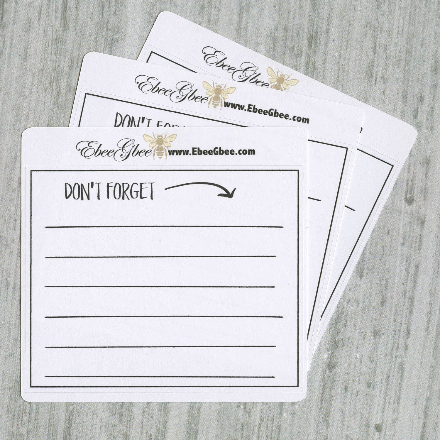 DON'T FORGET set of 3 Hand Drawn Large Box Note Page Planner Stickers