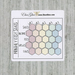 ETSY STATS MONTHLY Tracker set of 3 Hand Drawn Large Box Note Page Planner Stickers