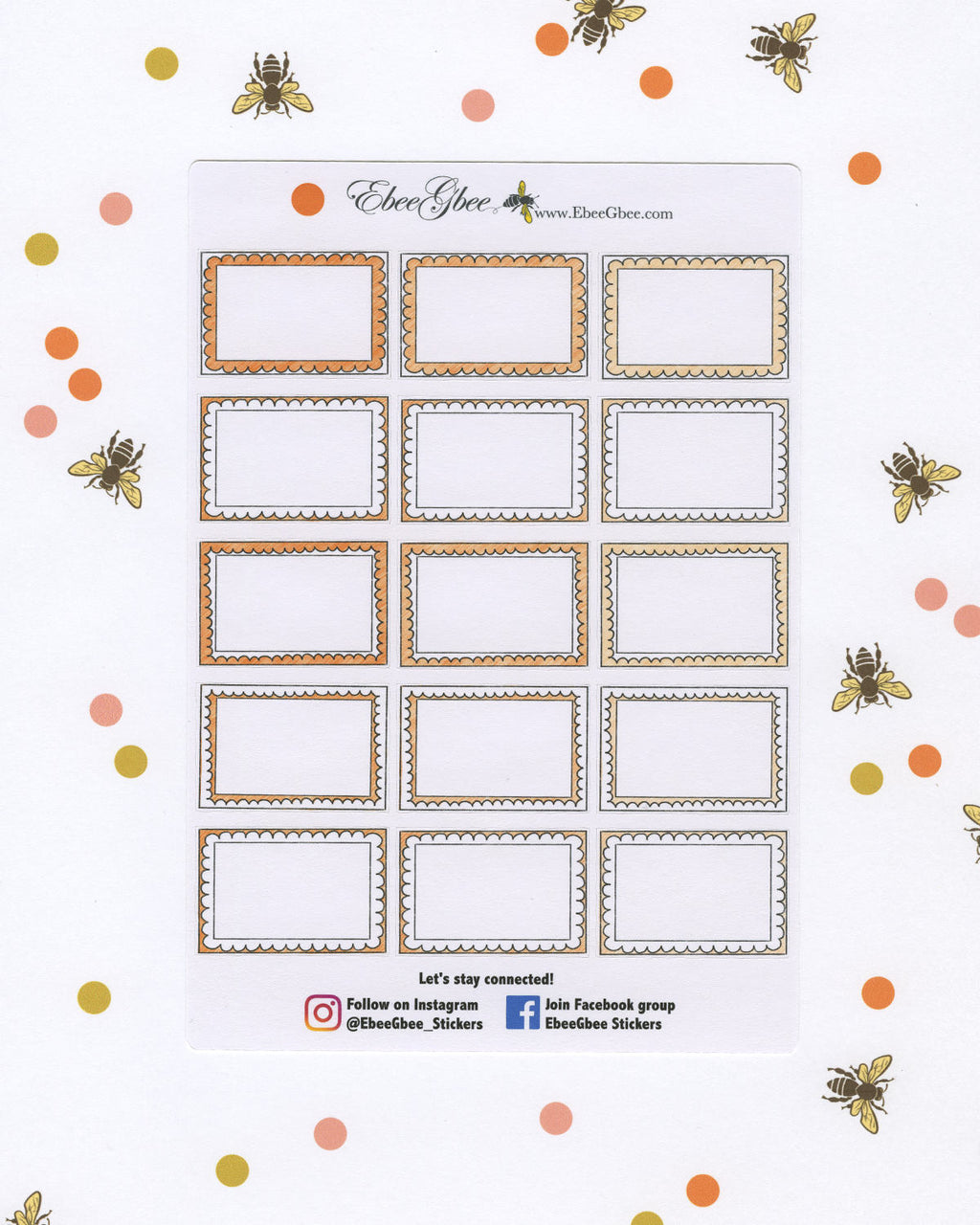 SUNSET DOODLE BOXES Planner Stickers | BeeColorful
