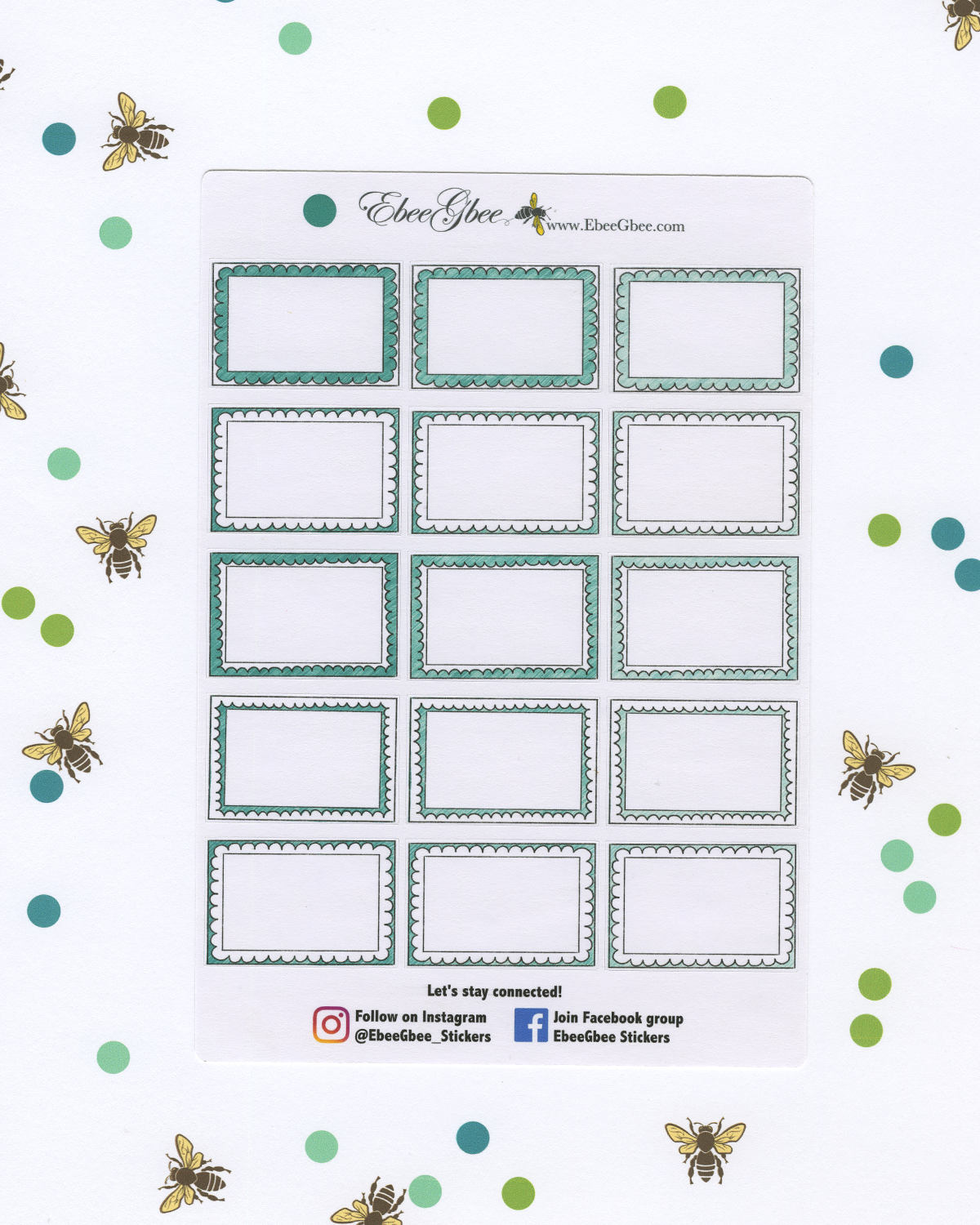 PINE DOODLE BOXES Planner Stickers | BeeColorful