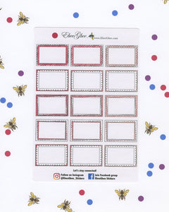ROSE DOODLE BOXES Planner Stickers | BeeColorful