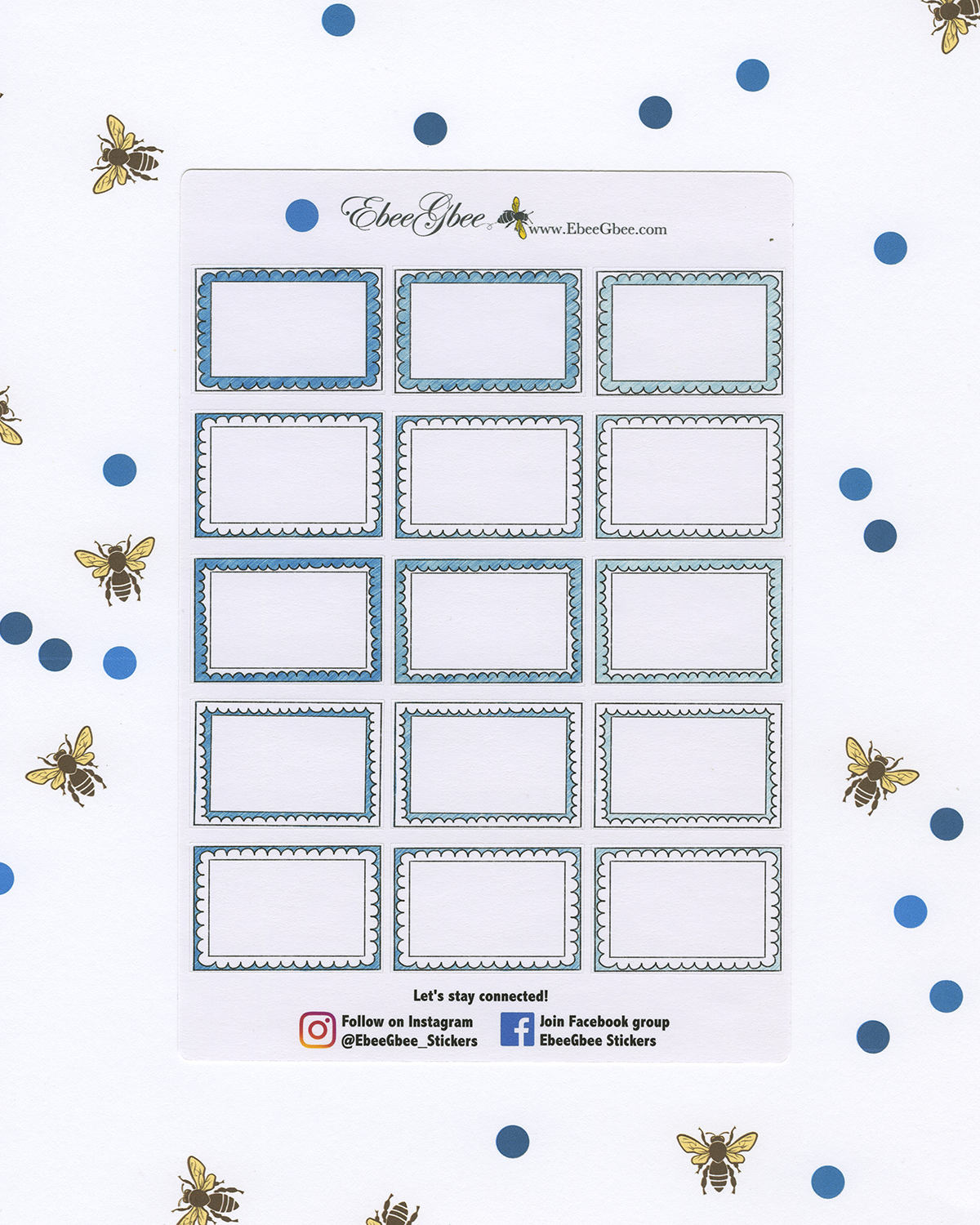 SKY DOODLE BOXES Planner Stickers | BeeColorful