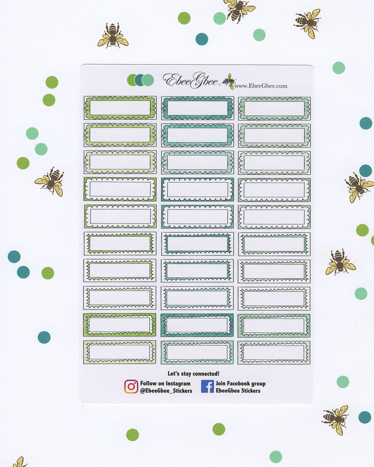 GREENS DOODLE BOXES Planner Stickers |  BeeColorful Lime Pine Mint