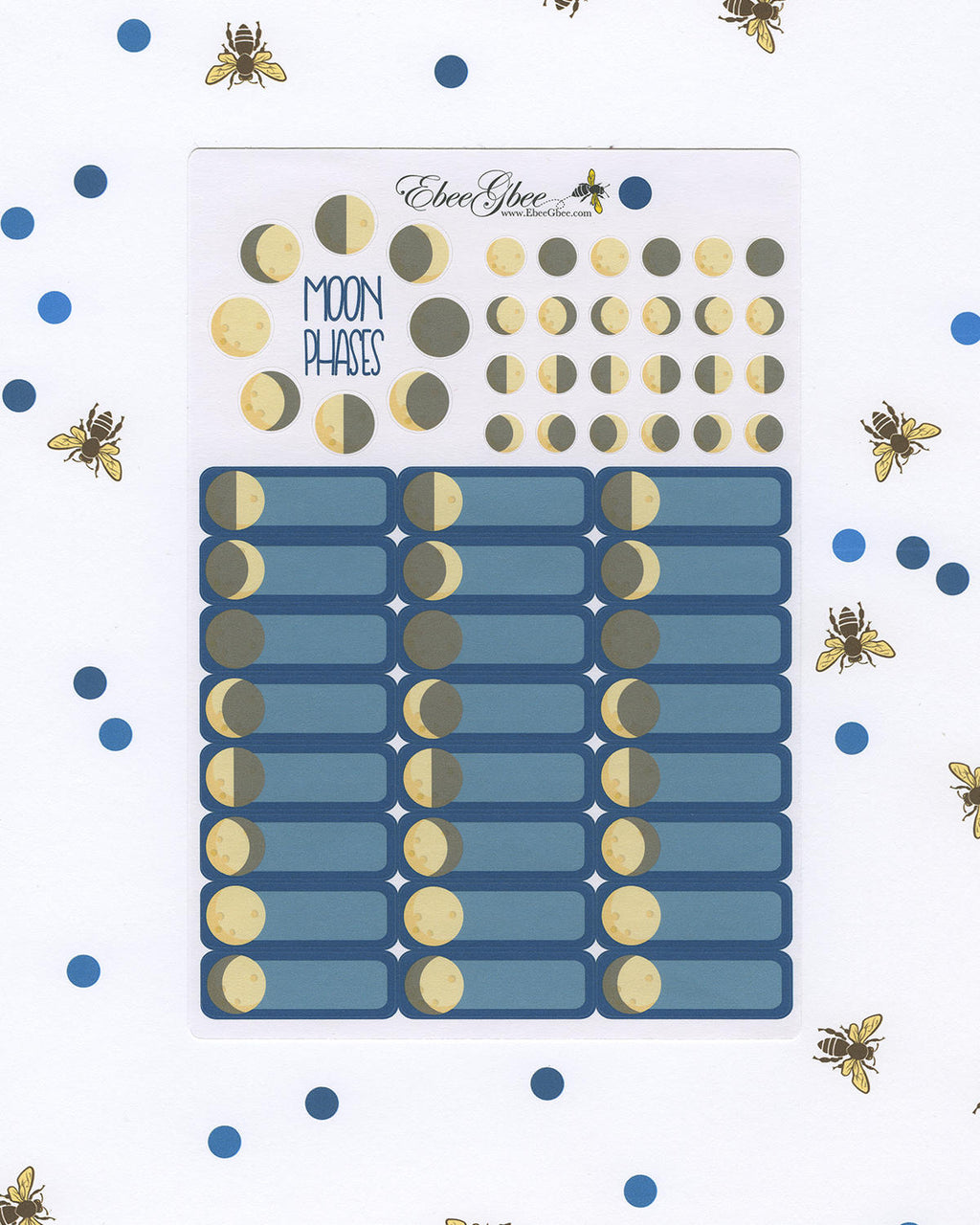 MOON PHASES Boxes Planner Stickers |  BeeColorful