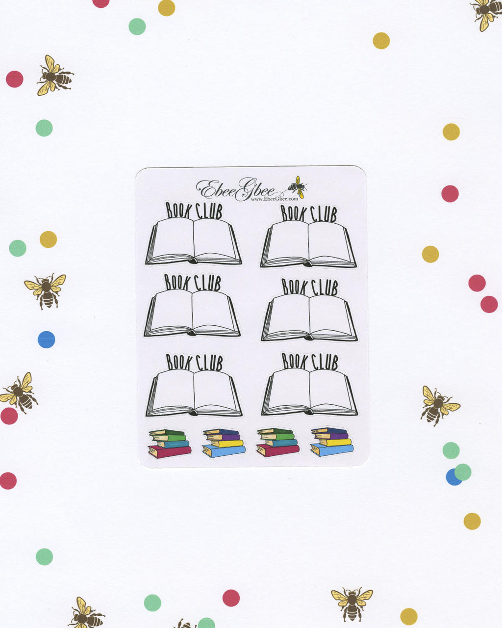BOOK CLUB Planner Stickers | Hand Drawn