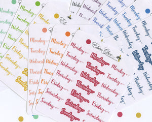 SCRIPT WEEKDAYS Planner Stickers | BeeColorful BuJo Style