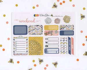 DOODLE FLOWER SAMPLER Weekly Planner Sticker Set | Gold Peach Navy
