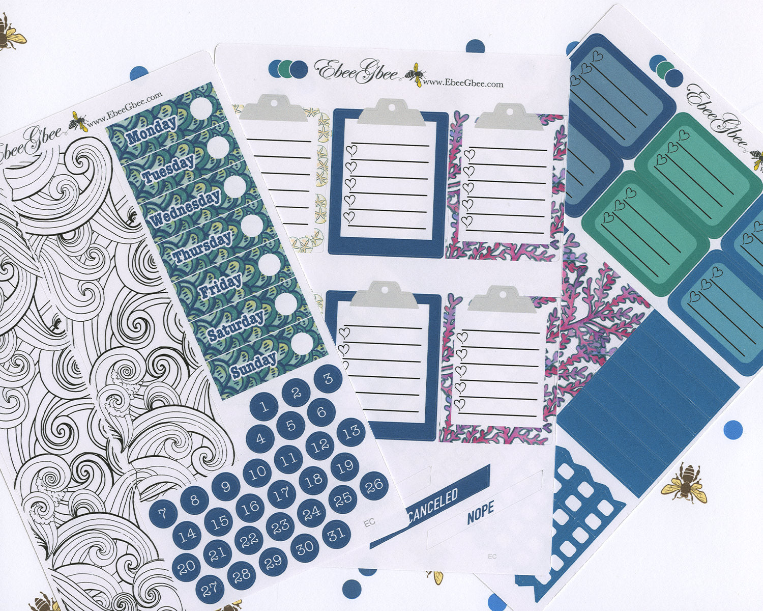 OCEAN MERMAID DELUXE Weekly Planner Sticker Set | Teal Pine Midnight