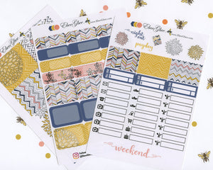 A LA CART Doodle Flower Weekly Planner Sticker Sheets | Navy Gold Peach