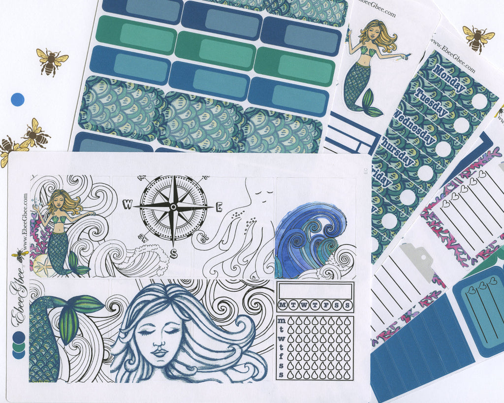 A LA CART Ocean Mermaid Weekly Planner Sticker Sheets | Teal Pine Midnight