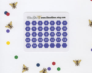 GRAPE DATE DOT  Hexagon Monthly Planner Stickers | BeeBright