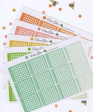 WATER TRACKER BOXES Planner Stickers | BeeColorful 13 Color Choices