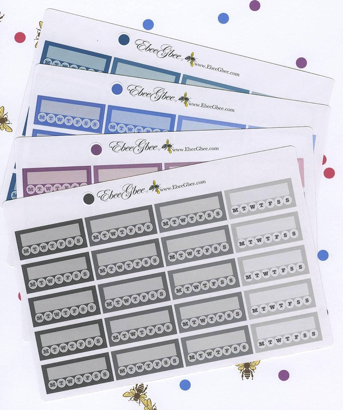 WEEKLY HABIT TRACKER Boxes Planner Stickers | BeeColorful 13 Color Choices