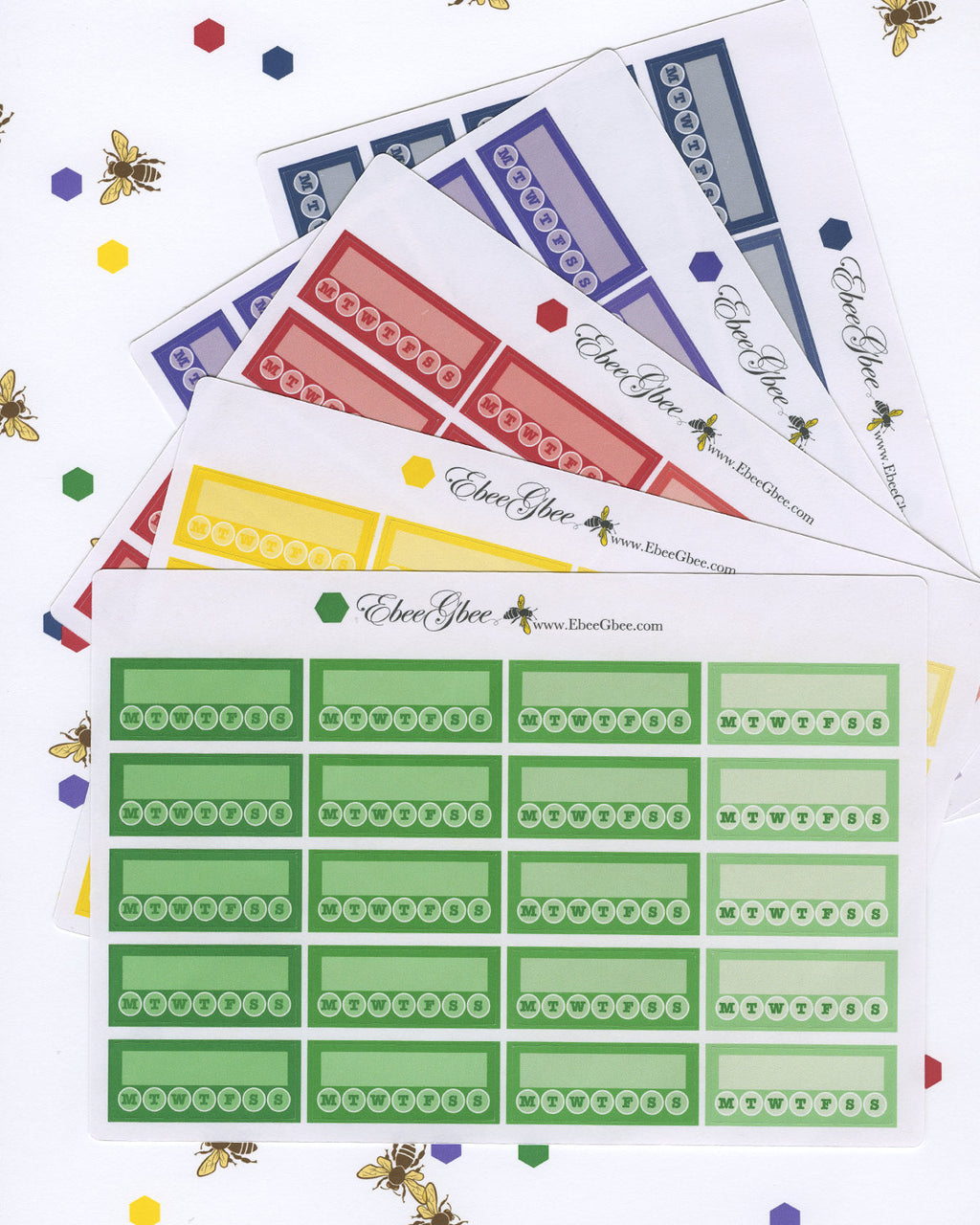 WEEKLY HABIT TRACKER Boxes Planner Stickers | BeeBright 5 Color Choices