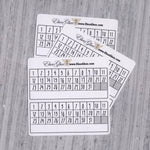 TASK TRACKER set of 6 Thin Hand Drawn Large Box Note Page Planner Stickers