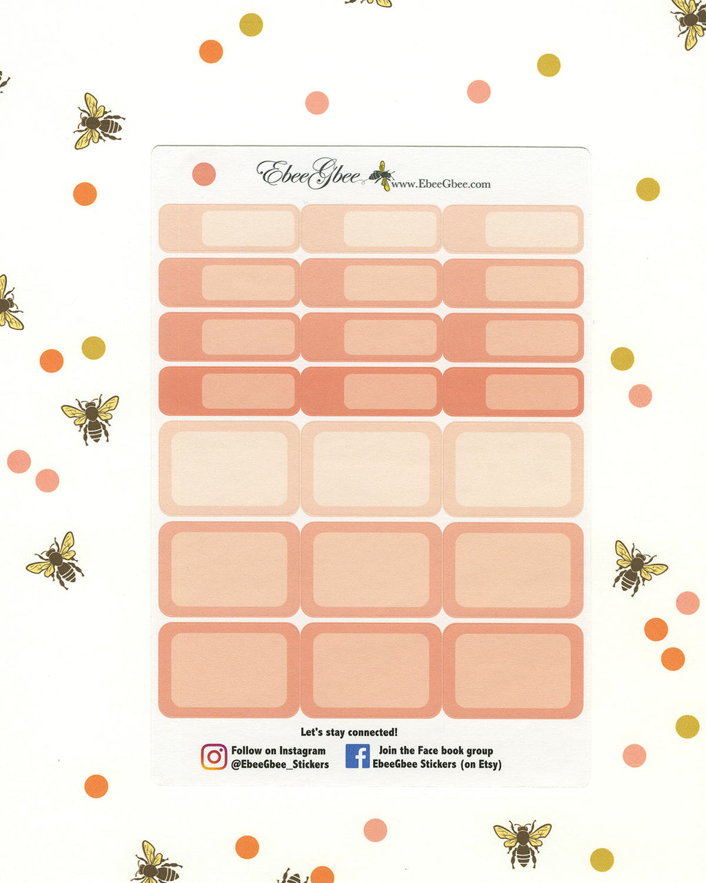 PEACH COLORFUL BOXES Planner Stickers | BeeColorful