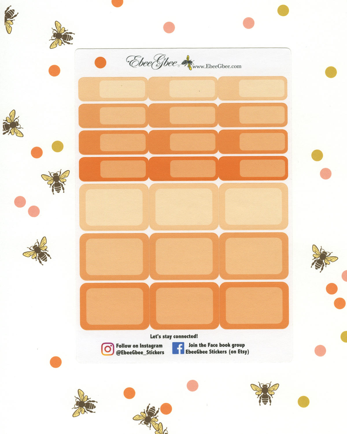 SUNSET COLORFUL BOXES Planner Stickers | BeeColorful