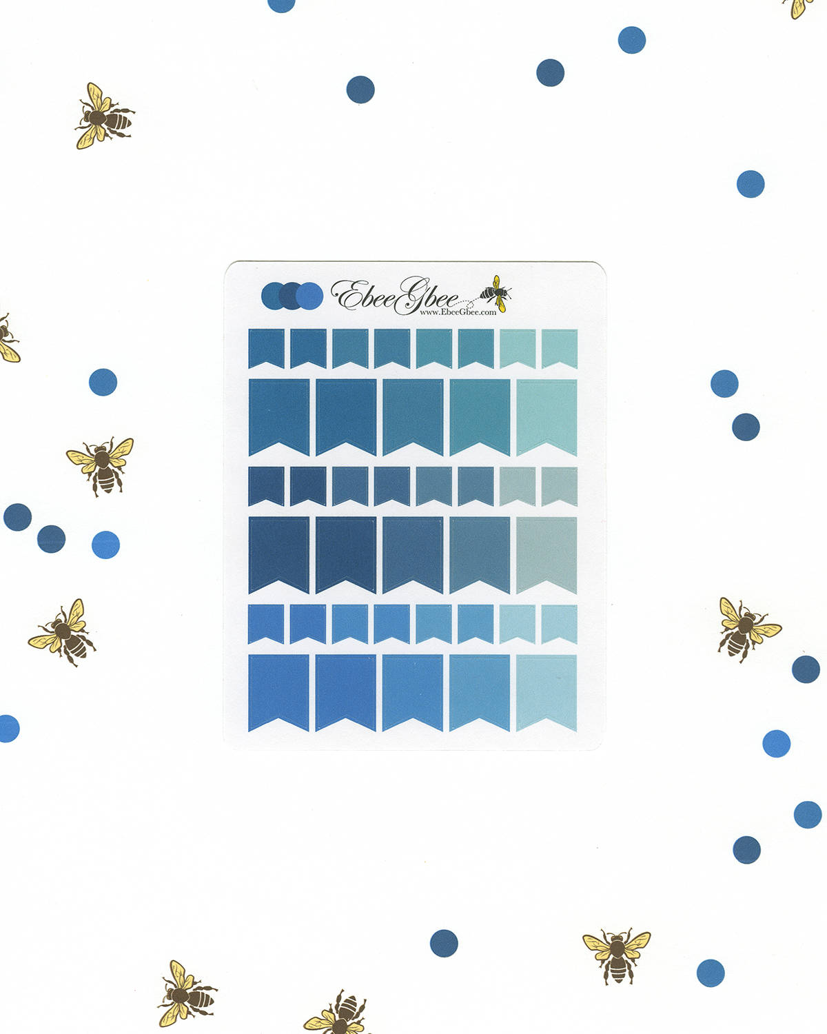 BLUES FLAGS Planner Stickers | BeeColorful Teal Midnight Sky