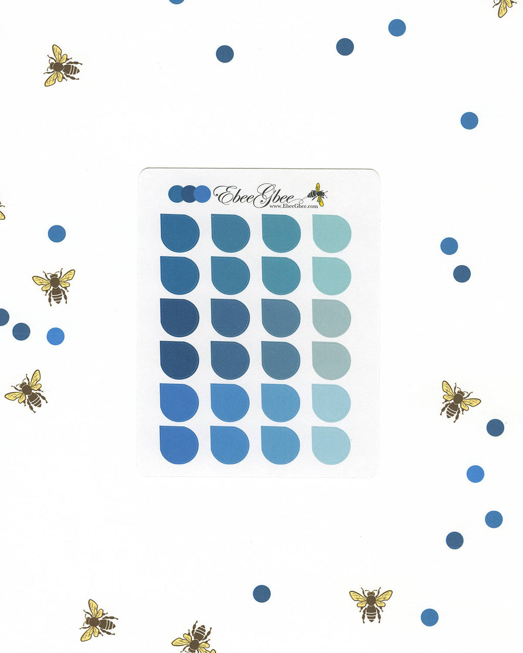 BLUES TEARDROP Planner Stickers |  BeeColorful Teal Midnight Sky