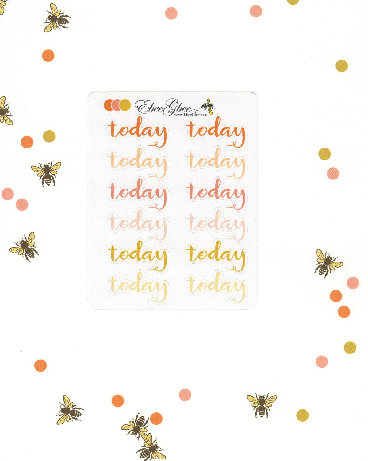 ORANGES TODAY Planner Stickers |  BeeColorful Sunset Peach Gold