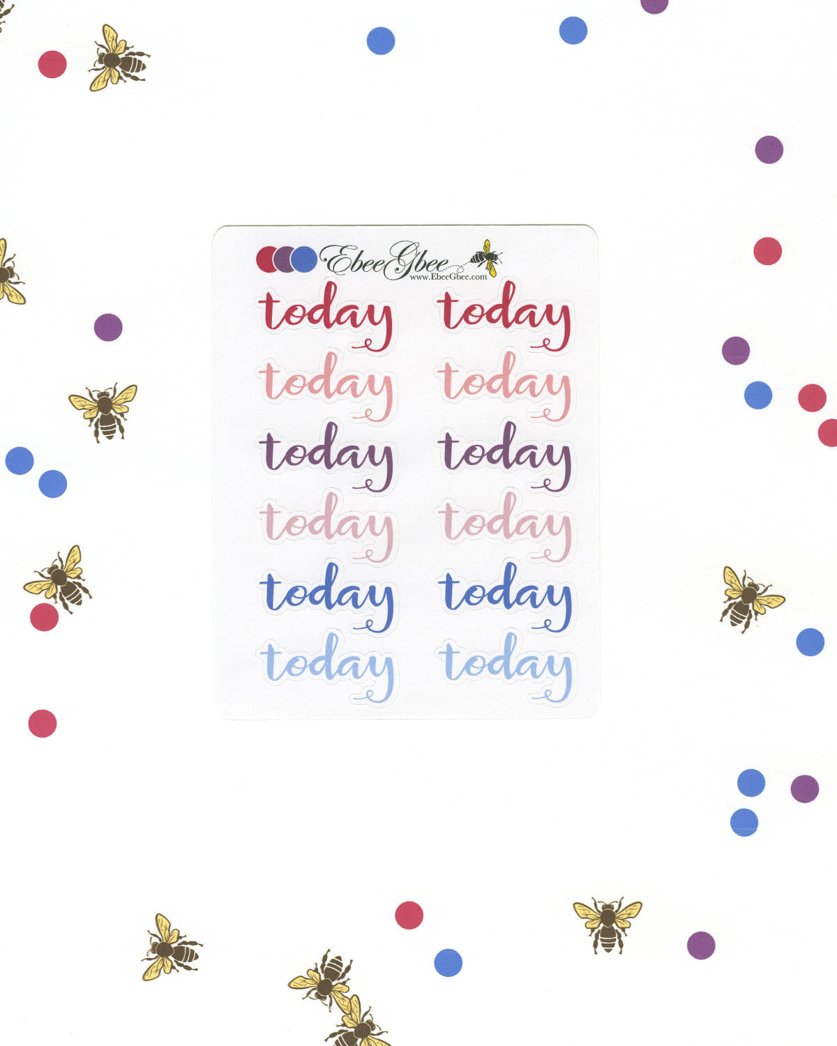 PURPLES & PINKS TODAY Planner Stickers |  BeeColorful Rose Plum Periwinkle